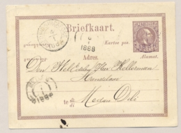 Nederlands Indië - 1888 - 5 Cent Briefkaart Van KR TANDJONG PANDAN Via KR NED IND-SINGAPORE Naar Medan - Nederlands-Indië