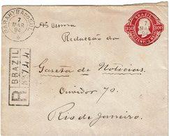 CTN54A BRESIL EP ENVELOPPE 300R CIRCULEE EN RECOMMANDEE PARAHYBA DO SUL / RIO DE JANEIRO 7/3/1894 - Entiers Postaux