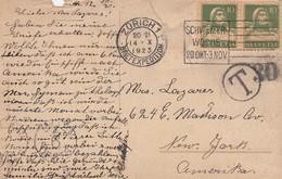 POST CARD. 14 10 23. ZÜRICH TO NEW-YORK. T/30. + DUE 6 CENTS - Schweiz