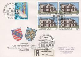 RE58   Recommandé  Jumelage Redange-sur-attert / Warndt 1992   TTB - Luxembourg