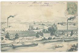 CPa Non-légendée , Usine, Postée De Saint Martin Du Var ( Péniche ) - France