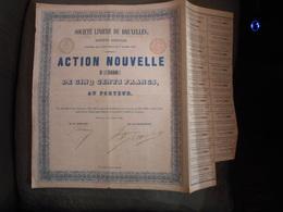 """Action Nouvelle""""Sté Linière De Bruxelles"""" 1858 Textile N° 5666 Reste Des Coupons - Textiel"""