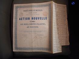 """Action Nouvelle""""Sté Linière De Bruxelles"""" 1858 Textile N° 5668 Reste Des Coupons - Textile"""