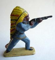 Figurine CYRNOS INDIEN IND I 1 TIREUR FUSIL DEBOUT 2 Bleu Coiffe Jaune 60's Pas Starlux Clairet - Starlux