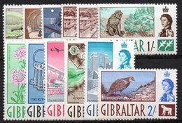 GIBRALTAR : G182  -  1960  12 Mint Pieces Of Set , To  2/.  ( 9 Pieces MNH ) - Gibilterra