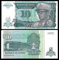 Zaire P55, 10 Nouveaux Zaires, President Mobutu S'es'e Seko Nkuku, Leopard UNC - Zaïre
