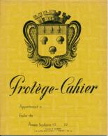 ANCIEN PROTEGE-CAHIER, Papeteries R. Gilbert, Vernon (Eure), Blason Héraldique, Mesures, Bois, Vin, Lait, Huile (Jaune) - Protège-cahiers