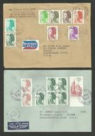 Affr. Liberté Gandon / Lot 2 Lettres Avion >>> U.S.A. / LA CHAPELLE SAINT LUC & LONGWY 1982 - France