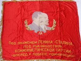 DRAPEAU #1 URSS SOVIET COMMUNISME PROPAGANDE LENINE STALINE FLAG USSR LENIN STALIN - Drapeaux