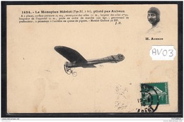1456 AV03 CPA CP AK LE MONOPLAN BLERIOT PILOTE PAR AUBRUN TTB - Aviatori
