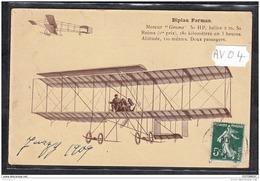 1460 AV04 CPA CP AK BIPLAN FARMAN MOTEUR GNOME TTB - Aviatori