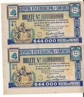 A7. SANTURCE. Hospital Asilo. 2 Billetes RIFA BENÉFICA. Año 1947 - Billetes De Lotería