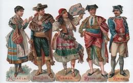 Découpis/ Chromos / Espagnoles  Du XIXème Siècle/ 5 Personnages / Vers 1890-1900      CHRO80 - Autres