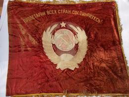 DRAPEAU #2 URSS SOVIET COMMUNISME PROPAGANDE LENINE FLAG USSR LENIN - Drapeaux