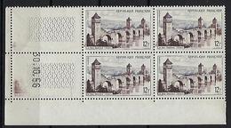 """FR Coins Datés YT 1039 """" Pont Valentré à Cahors """" Neuf** Du 30.10.56 - Coins Datés"""