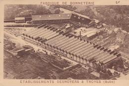 10 / TROYES / ETABLISSEMENTS DESNOYERS/ FABRIQUE DE BONNETERIE / AU DOS AVIS DE PASSAGE / RARE - Troyes