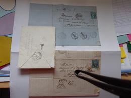 CHATEAUROUX INDRE 1864 2 Lettres Vente Charge BRIDOUX Rollinat + QUESNOY Sur DEULE Ambulant Sage Napoleon Empire - Postmark Collection (Covers)
