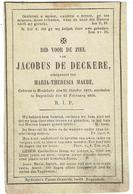 Doodsprentje - Jacobus De DECKERE Echtgenoot Maria Theresia MAEBE - Geb. Meulebeke 1810 - Overleden Ruysselede 1866 - Godsdienst & Esoterisme