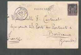 """Mthn - Oblit. - Cachet Octogonal """"Ligne T / Paq. Fr. N°5 / 3 Juin 1901"""" Sur Carte Pour Bordeaux - Postmark Collection (Covers)"""
