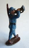 FIGURINE QUIRALU Soldat CASQUE ADRIAN BLEU TROMPETTE (2)- ALUMINIUM - Quiralu