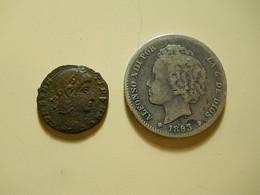2 Coins * Roman Coin To Identify + Spain 1 Peseta 1893 Silver - Vrac - Monnaies