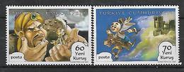 TURKEY 2007 Sc#3078-79 Turkish Cartoon Heroes Incomplete Set MNH LUX - 1921-... Republik