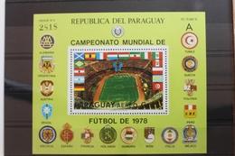 Paraguay Block 331 Mit 3141 ** Postfrisch Fußball WM 1978 #SF701 - Paraguay