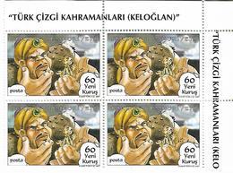 TURKEY 2007 Sc#3078 Turkish Cartoon Heroes In Block X4 MNH LUX - 1921-... Republik
