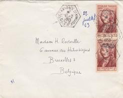LETTRE. 1 7 53. CACHET EXAGONAL-PERLÉ PORTE-AVION DIXMUDE. POUR BRUXELLES BELGIQUE - Postmark Collection (Covers)