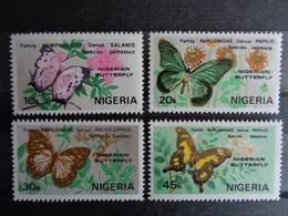 NIGERIA Y&T N° 408 à 411  ** - PAPILLONS DIVERS - Nigeria (1961-...)