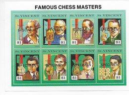 St Vincent 1991; Chess S/s Chessmasters SPECIMEN - St.Vincent & Grenadines