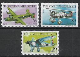TURKEY 2008 Sc#3103-05 Military Aircrafts -AIRPLANES- Complete Set   MNH LUX - 1921-... Republik