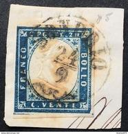 Sardegna 20 Cent Annullo Lombardo Veneto Sondrio 24/9 (1859) Leggera Doppia Effigie, P6 Sigla Ballabio - Sardegna