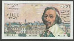FRANCE 1000 FRANCS 1955 PICK #134a EF-AU Exceptionally Scarce! - 1871-1952 Antichi Franchi Circolanti Nel XX Secolo