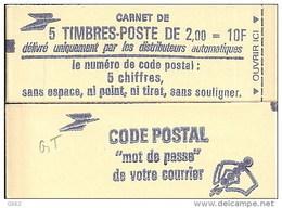 """CARNET 2274-C 1a Liberté De Delacroix """"CODE POSTAL"""", Fermé Bas Prix Parfait état TRES TRES RARE - Definitives"""