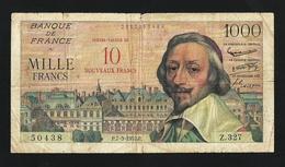 FRANCE 10 NOUVEAUX FRANCS ON 1000 FRANCS 1957 PICK#138 RARE - 1955-1959 Sovraccarichi In Nuovi Franchi