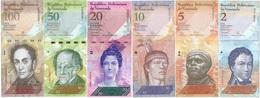Venezuela Set 6 Billetes 2 A 100 Bolívares UNC - Monnaies & Billets