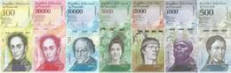 Venezuela Set 7 Billetes 500 A 100000 Bolívares UNC - Monnaies & Billets