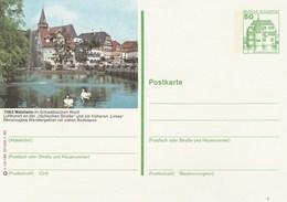1975 GERMANY Postal STATIONERY CARD  Illus SWANS At WELZHEM  Cover Stamps  Bird Swan Birds - Cygnes