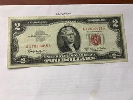 USA United States $2.00 Red Banknote  1963 #5 - Devise Nationale