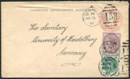 1901 GB Uprated QV Stationery Cover. Cambridge (University) Appointments Association - Heidelberg University, Germany - Storia Postale