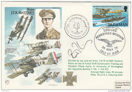 1978 SIGNED  WWI Anniv COSFORD AEROSPACE FLIGHT COVER  McCUTTON VC , WERNER VOSS Isle Of Man Stamps Aviation - WW1