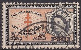 Fiji 1954 QE2 2 1/2d + 1/2d Health Cross Of Lorraine SG 297 ( J1222 ) - Fiji (...-1970)