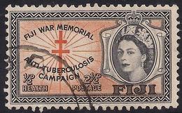 Fiji 1954  QE2 2 1/2d + 1/2d Health Cross Of Lorraine SG 297 ( J1232 ) - Fiji (...-1970)
