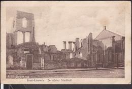 """Brest Litowsk  Zerstörter Stadtteil  Feldpost 1916  Stempel """" Eisenbahn Betriebskompagnie 51 """" - Belarus"""