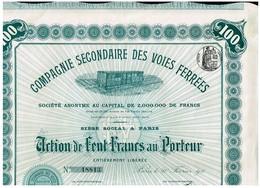 Ancienne Action - Compagnie Secondaire Des Voies Ferrées -Titre De 1911 - N°18813 - - Chemin De Fer & Tramway