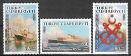 TURKEY 2008 Sc#3145-47 160th Anniv Of Turkish Maritime Complete Set MNH LUX - 1921-... Republic