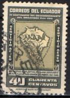 ECUADOR - 1942 - ANTICA MAPPA DEL SUD AMERICA E RIO DELLE AMAZZONI - USATO - Ecuador