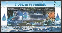 TURKEY 2009 Sc#3151 Fifth World Water Forum Miniature Sheet Of 4 MNH LUX - 1921-... Republic