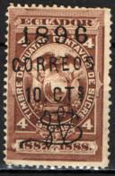 ECUADOR - 1896 - STEMMA CON SOVRASTAMPA - OVERPRINTED-  USATO - Ecuador